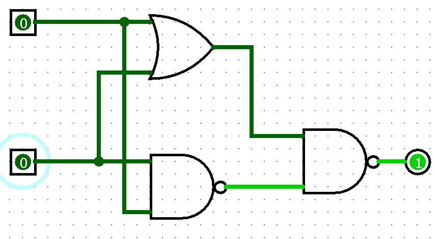 Porta XNOR construída com portas OR e NAND