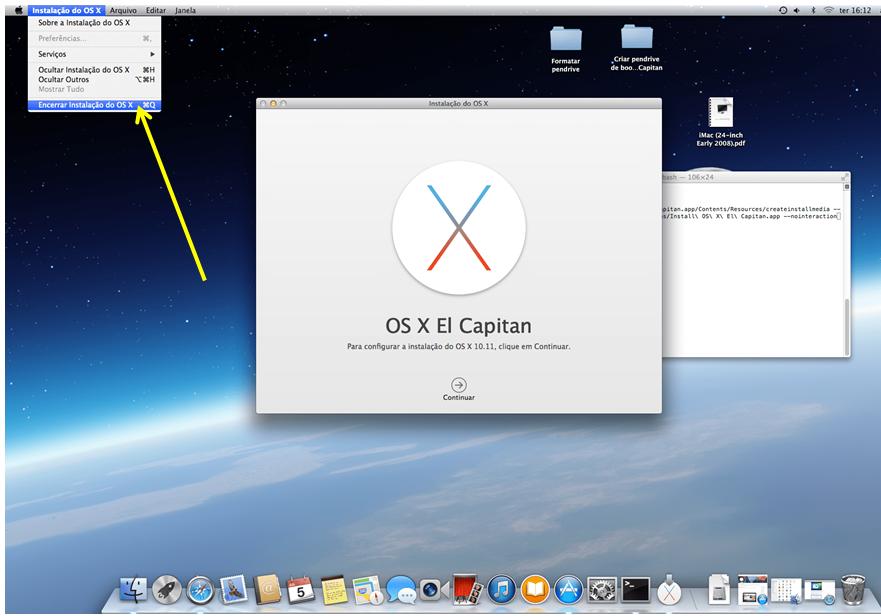 Encerrar instalação do OS X El Capitan a partir do app