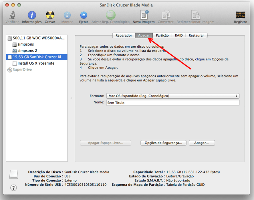 Formatar pendrive com o sistema de arquivos OS X