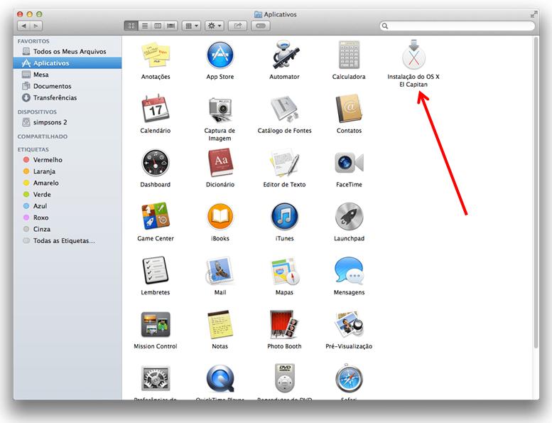 App de instalação do OS X El Capitan