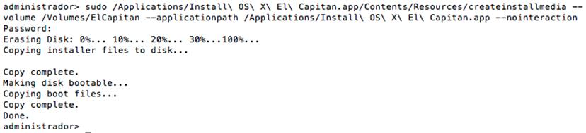pendrive de instalação do OS X El Capitan - Apple