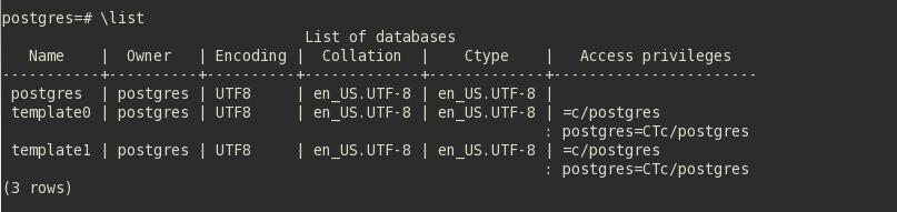 Listar bancos de dados no PostgreSQL via psql