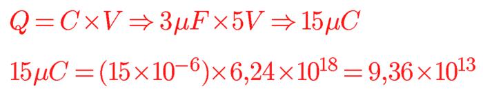 Calcular elétrons a partir de capacitância e carga