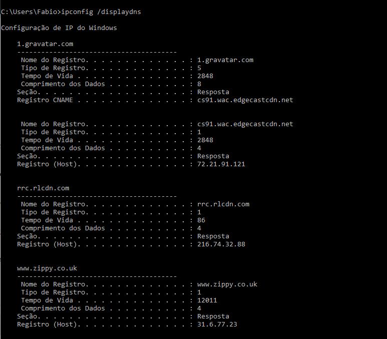 ipconfig displaydns em uma rede Windows