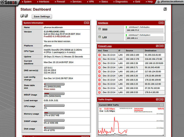 Tela do pfSense - FreeBSD
