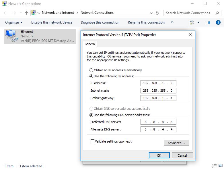 Conexões de Rede do Painel de Controle - Windows