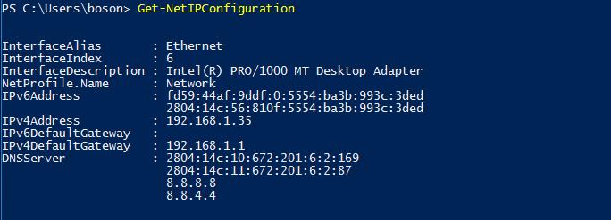 Conferir configurações de rede com Windows PowerShell