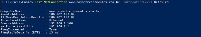 Ping detalhado no Windows PowerShell