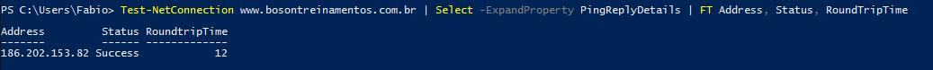 Ping com RTT no Windows PowerShell