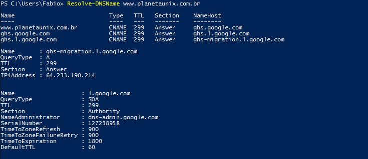 nslookup no Windows PowerShell