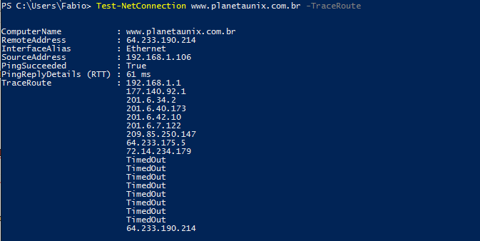 Traceroute no WindowsPowerShell