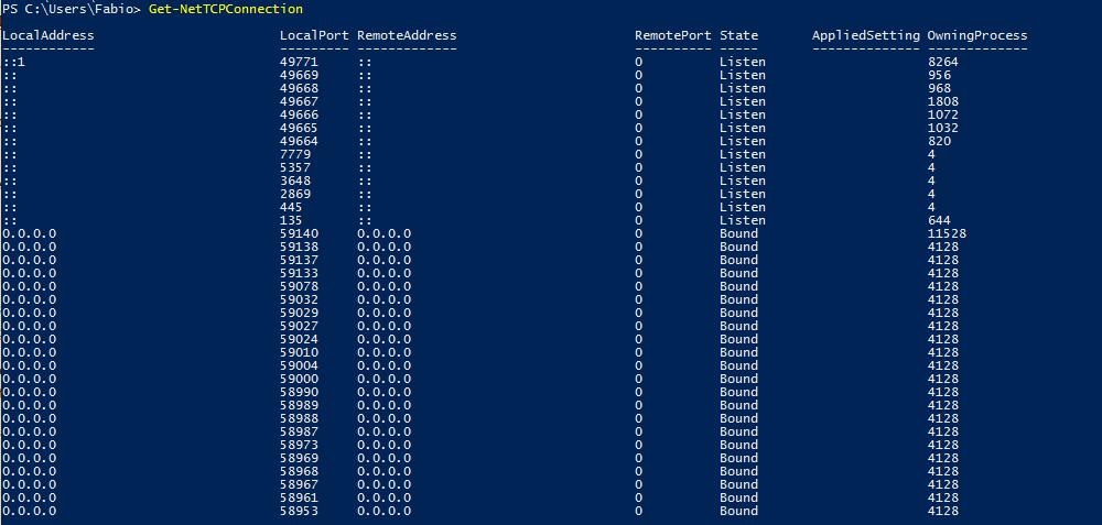 Netstat no Windows PowerShell