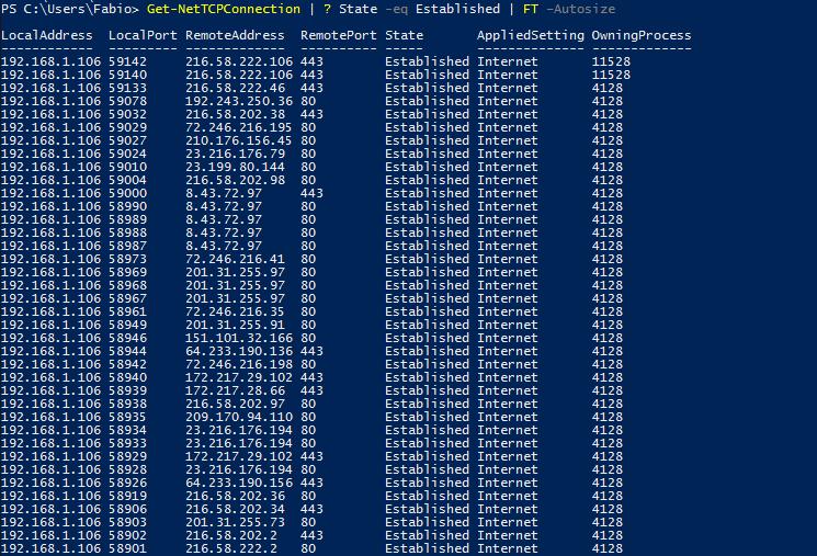 Conexões ESTABLISHED no Windows PowerShell
