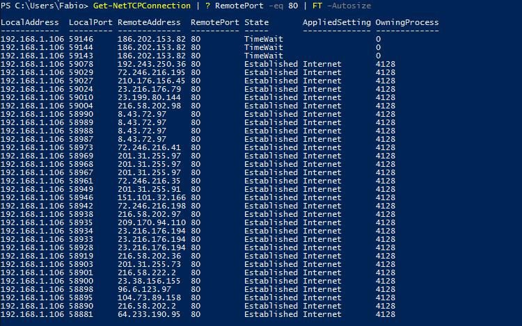 Windows PowerShell - netstat TCP/IP