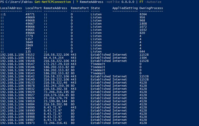 Windows PowerShell - netstat