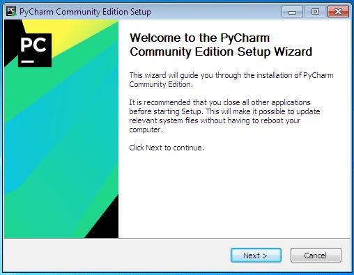 Iniciando o instalador do PyCharm Community Edition