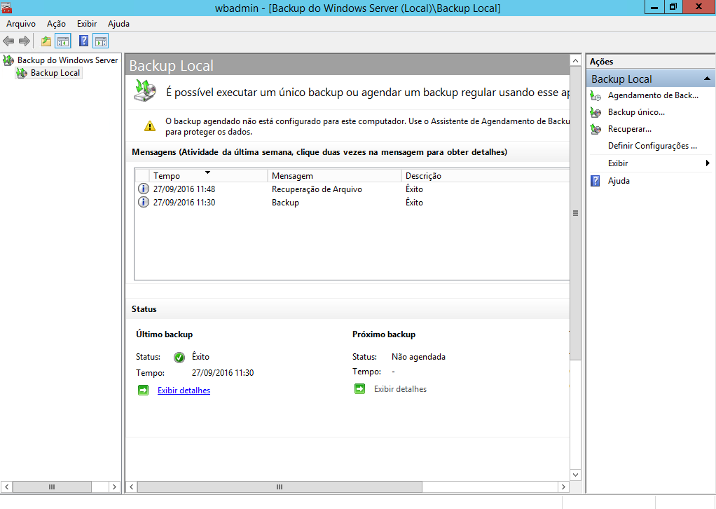 Console de Backup Wbadmin no Windows Server 2012 R2