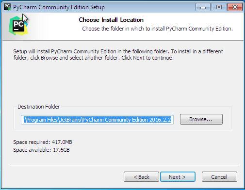 Escolhendo o local para instalação do PyCharm - IDE para Python
