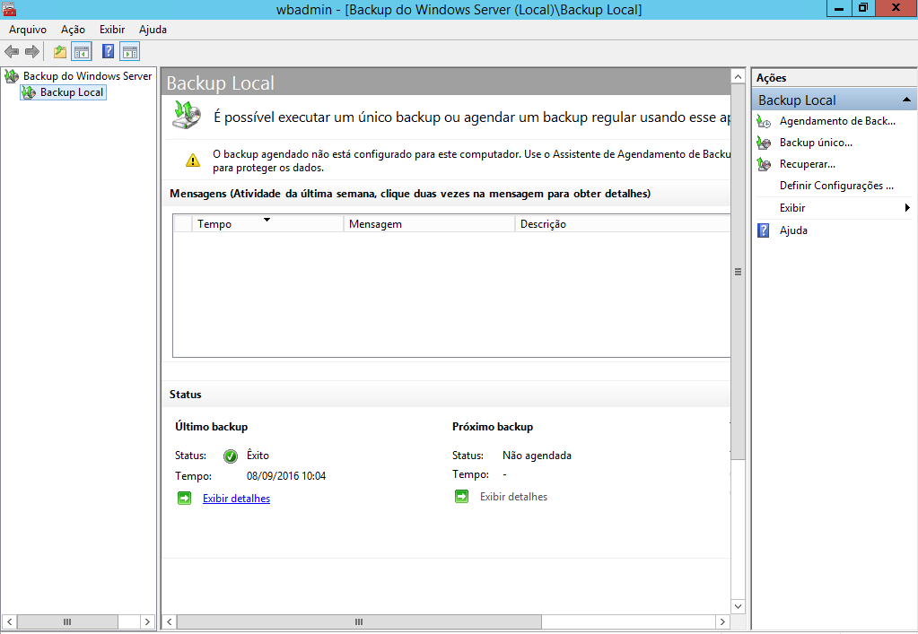 Console de gerenciamento de backups no Windows Server