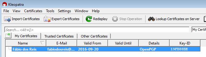Exportando certificados no Gpg4Win com Kleopatra
