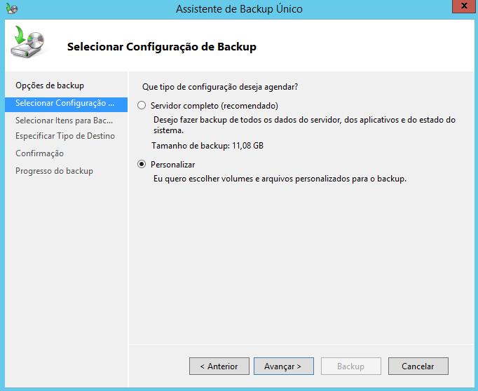 Selecionar configuração de Backup no Windows Server 2012 R2