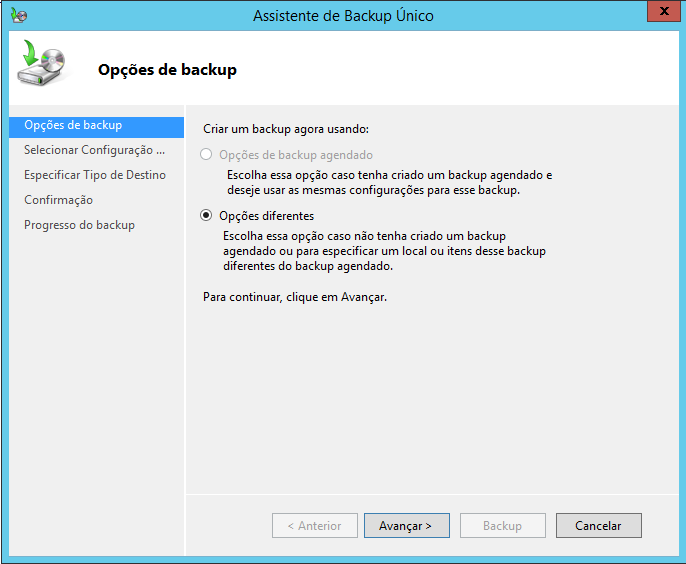 Opções de Backup no Windows Server