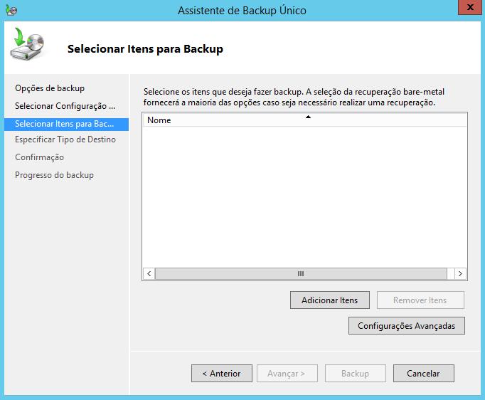 Selecionar itens de backup do estado do sistema no Windows Server 2012 R2