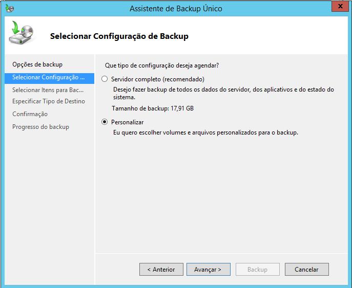 Selecionar Configuração de Backup no Windows Server 2012