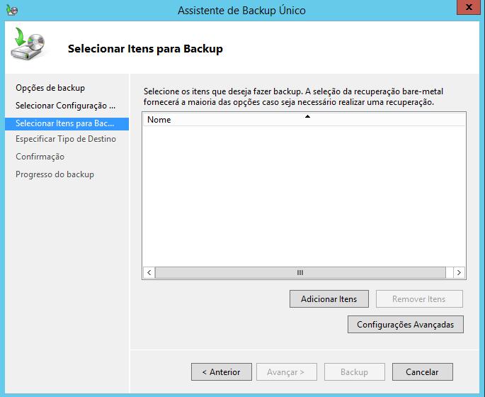 Selecionar Itens para Backup no Windows Server 2012