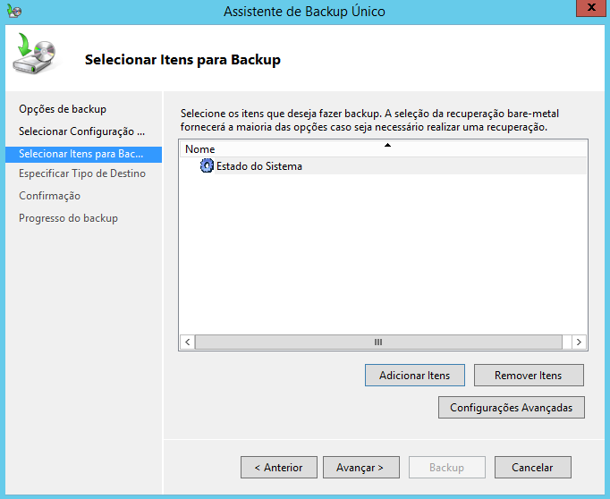 Itens de backup do estado do sistema no Windows Server 2012 R2