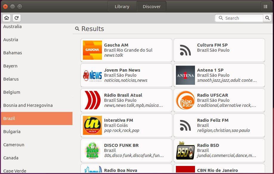 Filtrando estações de rádio por país no gradio - Linux Ubuntu
