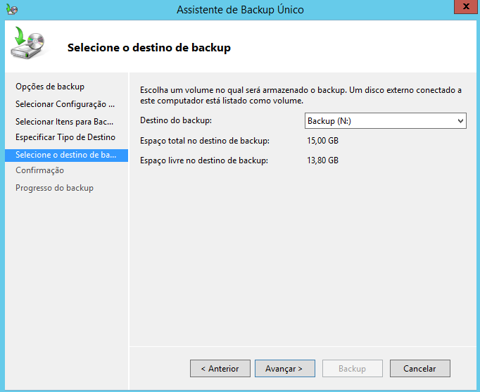 Destino do backup do estado do sistema no Windows Server 2012 R2