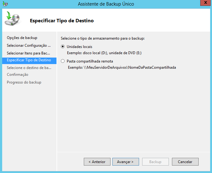 Especificar tipo de destino para Backup no Windows Server 2012