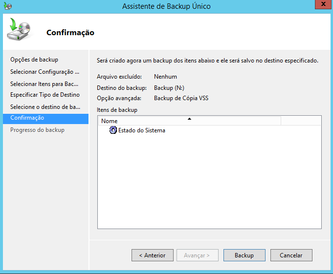 Confirmando o backup do estado do sistema no Windows Server 2012 R2