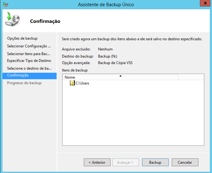 Confirmar Backup no Windows Server 2012