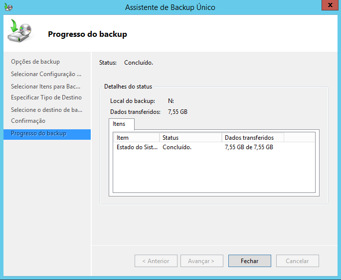 Finalizando o backup do estado do sistema no Windows Server 2012 R2
