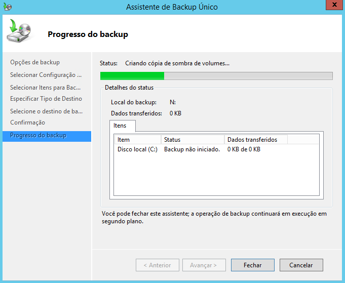 Realizar Backup no Windows Server 2012