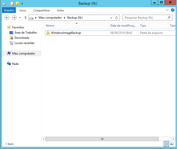 Backup concluído no Windows Server 2012
