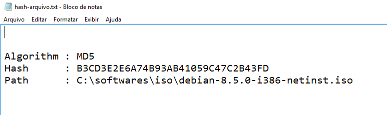 Hash MD% de arquivo criado no PowerShell