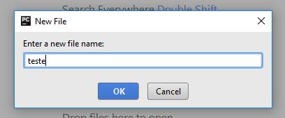 Criando novo arquivo .py no PyCharm