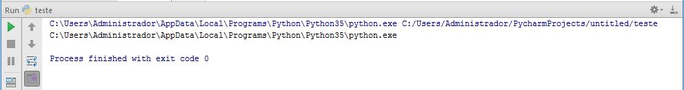Script executando no PyCharm
