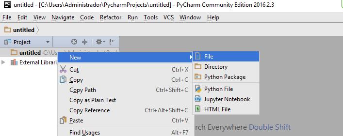 Novo arquivo no PyCharm