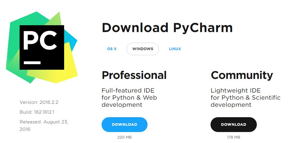 Download do IDE PyCharm para Python