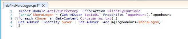 PowerShell ISE - Script de horário de logon