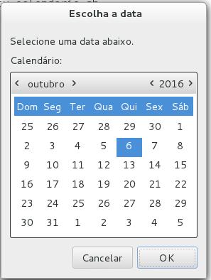 Caixa de diálogo de calendário com Zenity no Linux