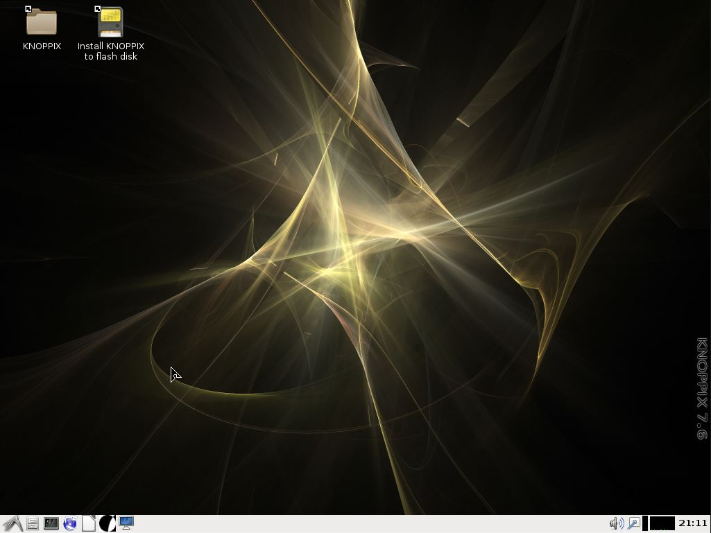 Desktop do KNOPPIX Linux 7.6