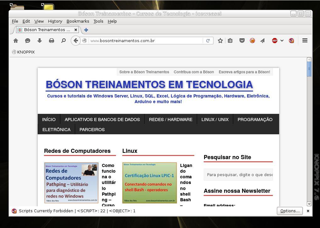 Navegador Firefox em execução no KNOPPIX Linux
