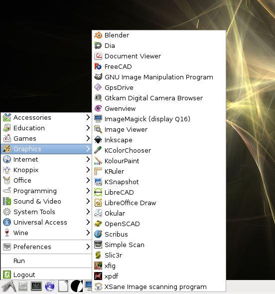 Menu de aplicações do linux KNOPPIX 7.6
