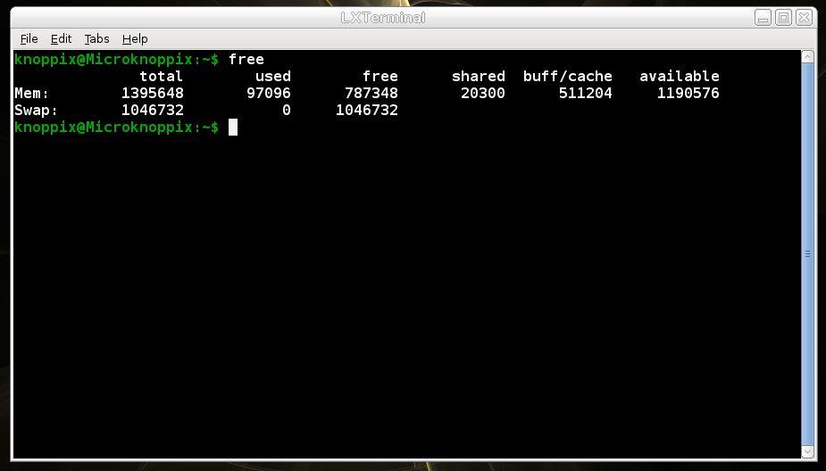 Terminal do KNOPPIX Linux - comando free