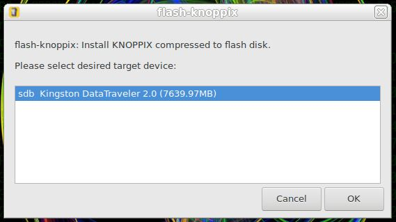 Escolhendo o pendrive para instalar Linux KNOPPIX